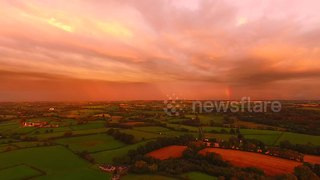 Drone films stunning sunset in Northern Ireland - Video