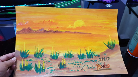 Sunset Acrylic Painting Demo/Step by Step Tutorial on How to Paint a Landscape for Kids or Beginners
