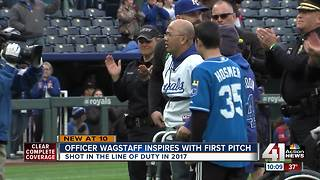 Ofc. Wagstaff throws first pitch at Royals game