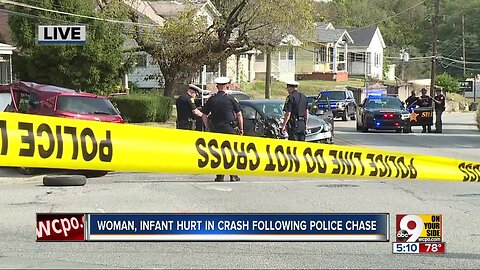 Woman, infant hurt in crash following police chase