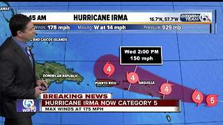 Irma strengthens to Category 5 with 175 mph winds - Video