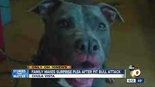 Chula Vista family makes surprise plea after pit bull attack - Video