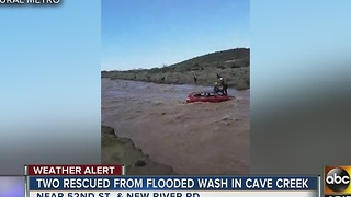 Two people rescued in Cave Creek after becoming stuck in floodwaters