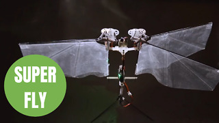 A flying robot with flapping wings can dart through the air like an insect