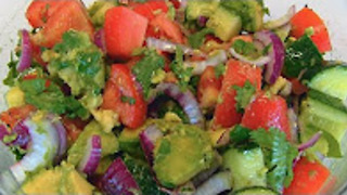 Betty's tomato, cucumber, and avocado salad - Video