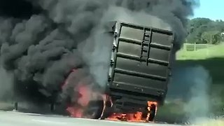 Black Smoke Billows From Flame-Engulfed Tractor-Trailer Outside Birmingham - Video