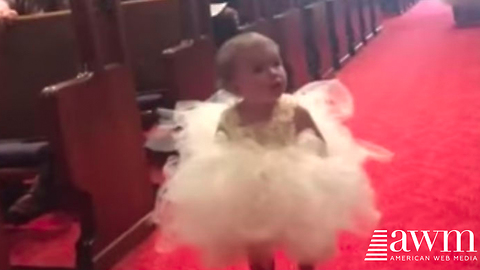 Flower Girl Walks Down The Aisle Looking For Her Dad, Has Cutest Reaction When She Spots Him