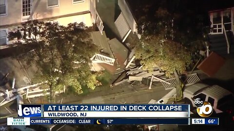 At least 22 injured in deck collapse