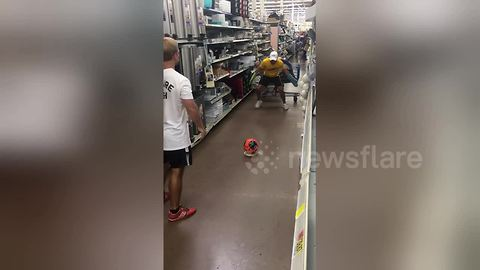 Lads bring World Cup to supermarket by doing trick shots among shoppers