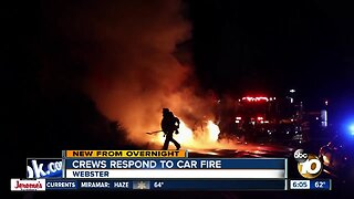 Fire destroys car in Webster area