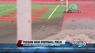Tucson High Football Field flooded again - Video