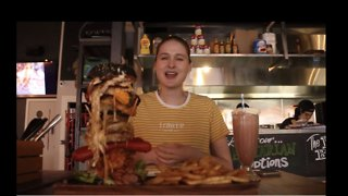 Beauty and the Beast: Model Beats Monster Burger Challenge - Video