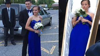 Teen goes to prom in coffin and hearse - Video