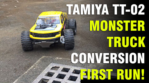 Tamiya TT-02 Chassis, On-Road to Monster Truck Conversion, First Run! 2S Lipo!