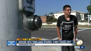 Driver hits teen and stares, then takes off - Video