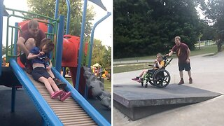 Devoted dad whizzes disabled daughter around skatepark in wheelchair