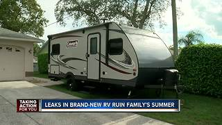New RV left local family all wet, ruined their summer. Now they have a replacement