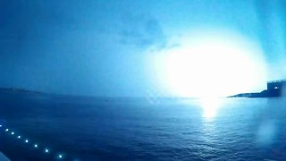 Powerful lightning storm off the coast of Jersey