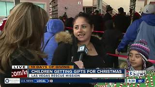 Handing out toys at Las Vegas Rescue Mission
