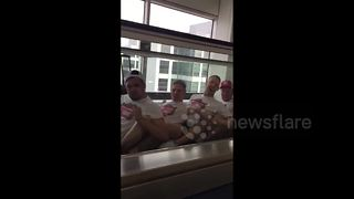 Stag party rowing through airport - Video