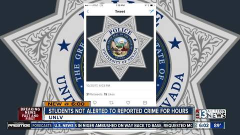 Students not alerted about UNLV crime for hours