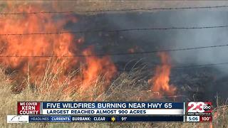 Multiple fires pop up along Highway 65 near Famoso Road - Video