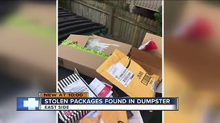 Packages stolen from East Side apartment lobby, empty boxes thrown in building's dumpster - Video