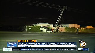 Homes evacuated after car crashes into power pole