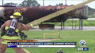 St. Lucie County firefighters train in the heat to prepare for rising temperatures