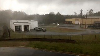 Winds Rip Roof Off Georgia Fire Station During Tornado Warning - Video