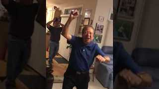 80-Year-Old Cubs Fan Wildly Celebrates Famous Victory