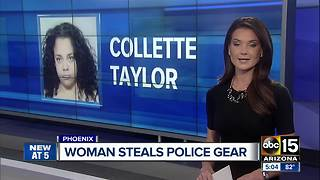 Woman arrested for trying to steal Phoenix police gear - Video