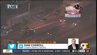 Chopper 9: Semi blocking lanes after Lytle Tunnel on Fort Washington Way - Video