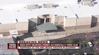 Man shoots his hand in movie theater by accident - Video