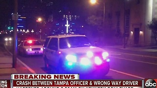 Crash between Tampa officer and wrong way driver - Video