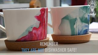 How to make easy DIY marbled mugs - Video