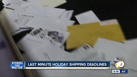 Last minute holiday shipping deadlines