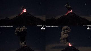 Colima Volcano Sends Plumes of Smoke, Ash Into Night Sky - Video