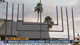 Family's menorah vandalized and turned into swastika in Chandler - Video