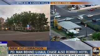 U-Haul chase suspect robbed Studio 6 Hotel - Video