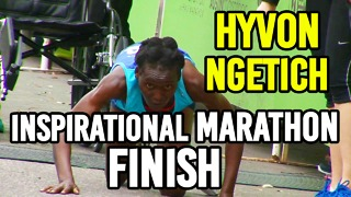 Inspiring Hyvon Ngetich Crawls to finish the Marathon!