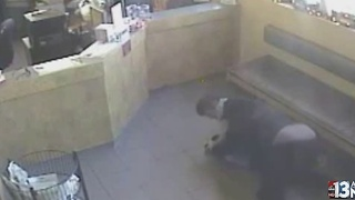 Video shows cop wrestling animal hospital armed robbery suspect