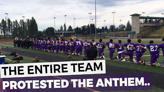 High School Football Team Kneels To Protests The National Anthem - Video