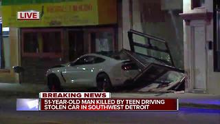 51-year-old man killed by teen driving stolen car in southwest Detroit - Video
