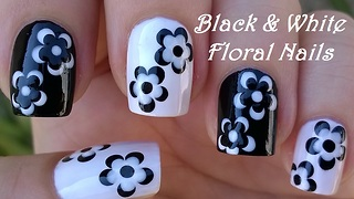 Monochrome Flower Nail Art In Black & White - Video