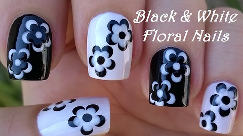 Monochrome Flower Nail Art In Black & White