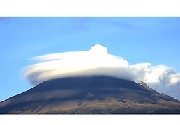 Popocatepetl Surrounded by Cloud Halo During Volcanic Exhalation - Video