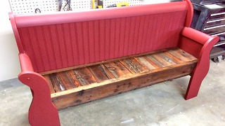 How to make a bench from an old sleigh bed headboard - Video