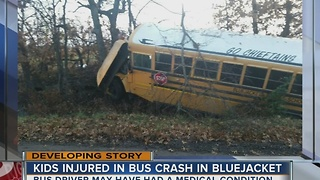 Children injured after bus crash in Bluejacket - Video