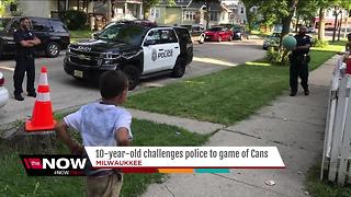 MPD makes time for game of cans with local boy - Video